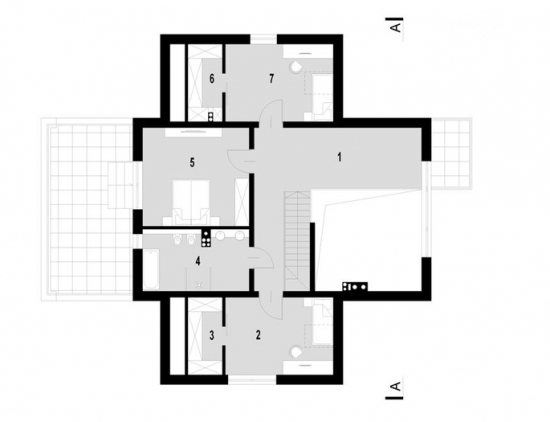 Plan etaj casa cu garaj si mansarda