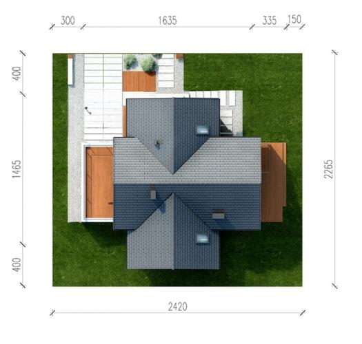 Pozitionare casa in forma de T pe lotul de teren
