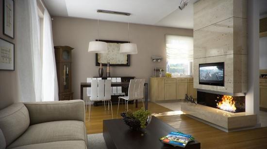 Living open space cu semineu modern placat cu marmura