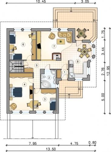Plan parter casa cu subsol si trei dormitoare