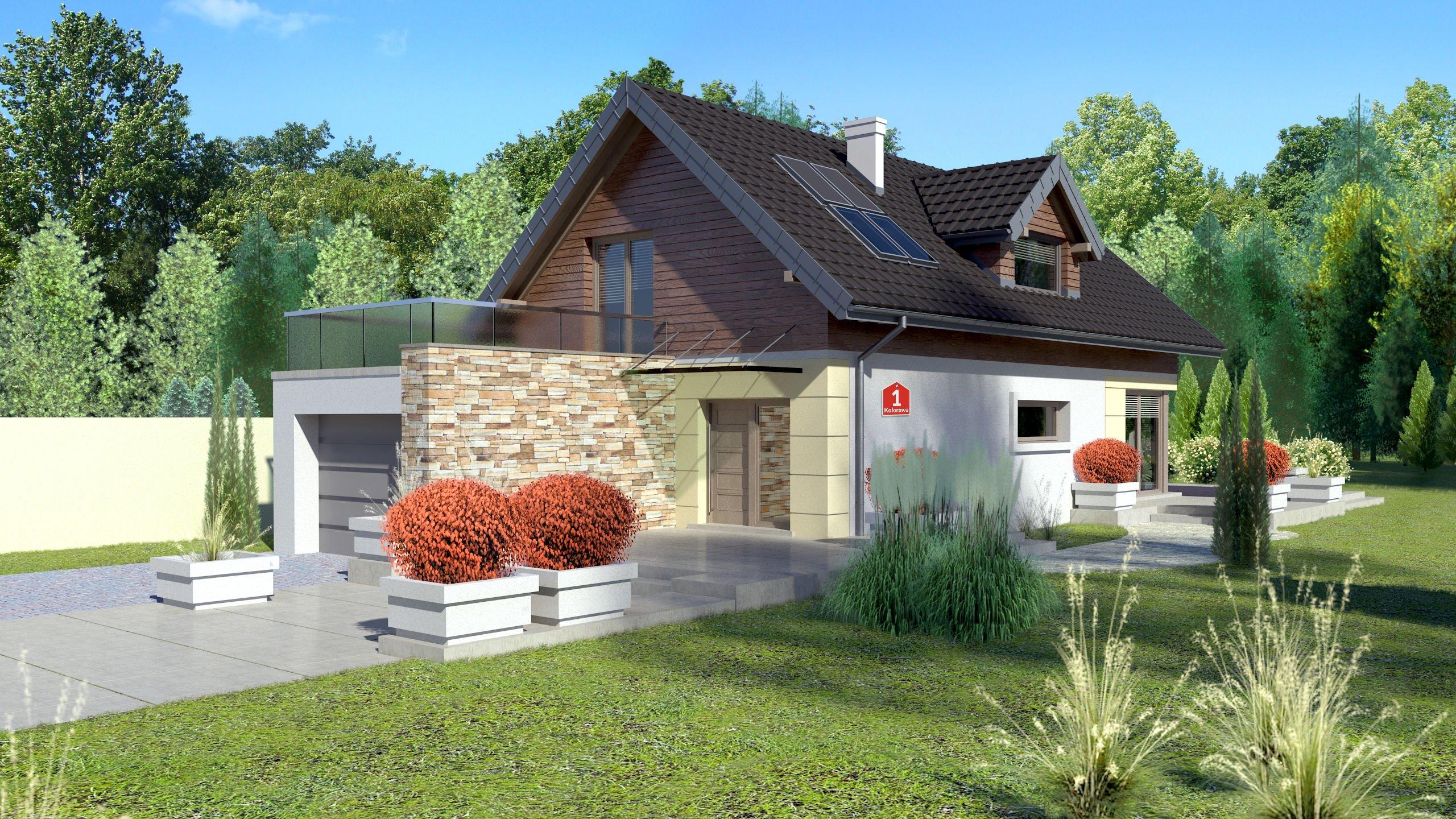 Proiect de casa mica cu mansarda si garaj - simplitate si confort