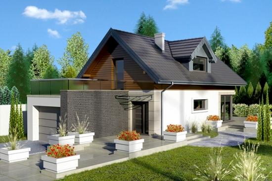 Proiect casa mica cu garaj si mansarda