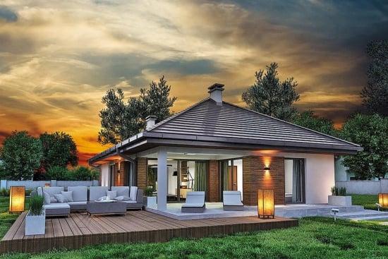 Proiect casa mica cu terasa acoperita