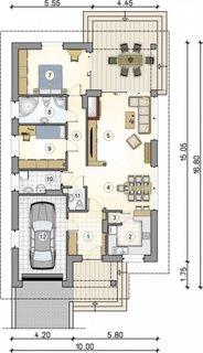 Plan parter casa cu 2 camere