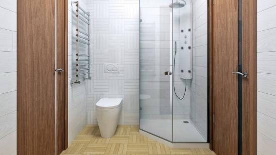 cabina de dus pe colt si WC cu rezervor in perete
