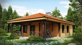 Casa mica de lemn cu terasa