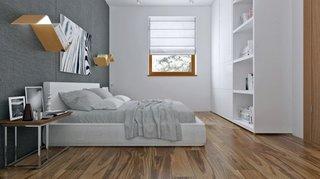 Dormitor matrimonial cu mobila alba