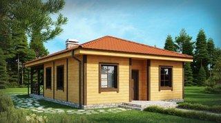 Intrare principala casa mica de lemn