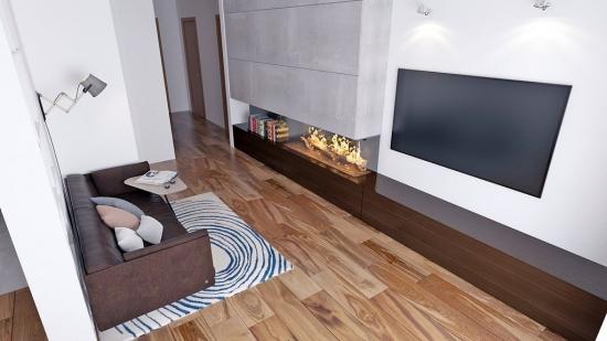living mic cu canapea si TV pe perete