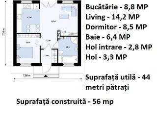 Plan casa parter 44 mp