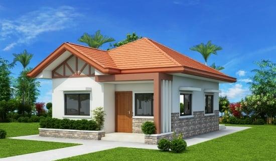 Proiect de casa mica cu living, 2 dormitoare si 2 bai - casa de vis pentru orice cuplu