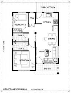 Plan parter casa cu 2 dormitoare si 2 bai