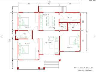 Plan casa parter cu 3 dormitoare living si bucatarie cu loc de masa