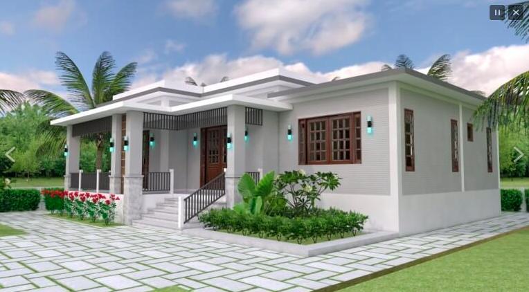 Vedere laterala casa cu parter in stil colonial