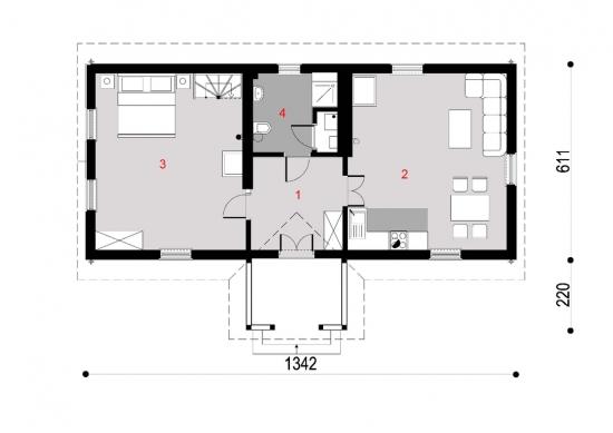 Plan casa cu parter si 1 dormitor