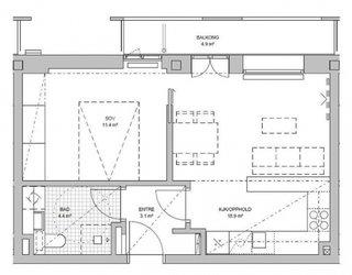 Plan casa cu dormitor si living