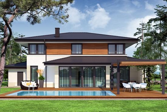 Proiect de casa moderna cu etaj - pentru familii cu adevarat norocoase