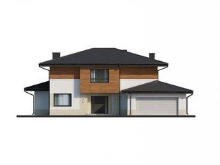 Fatada casa cu etaj si garaj de doua masini
