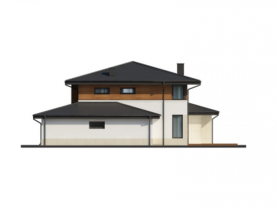 Fatada laterala casa cu etaj si garaj