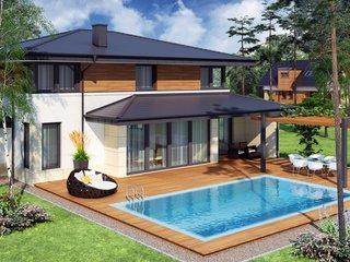 Model de terasa acoperita cu piscina