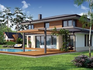 Pergola din lemn construita in prelungirea casei