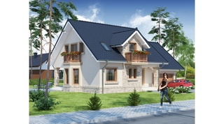 Casa cu mansarda balcon din lemn si acoperis gri negru