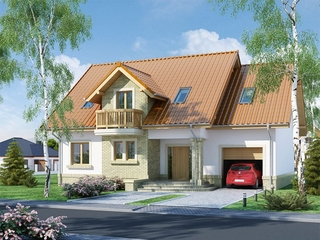 Casa cu mansarda si garaj si fatada placata cu caramida crem