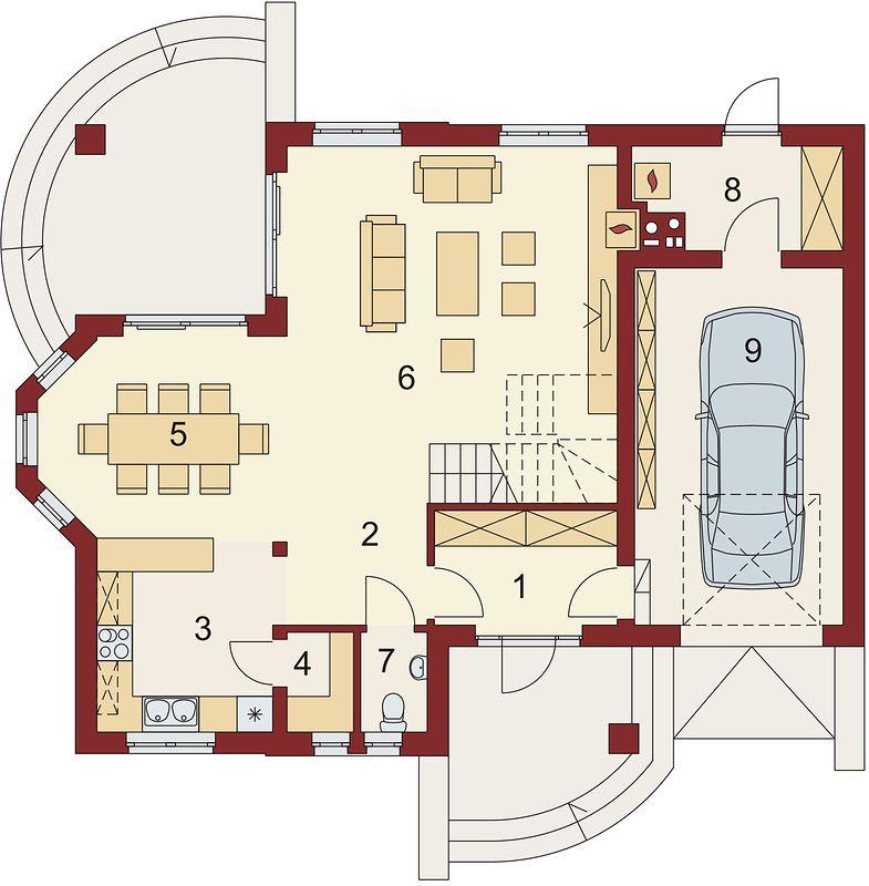 Plan parter casa cu mansarda si garaj simplu