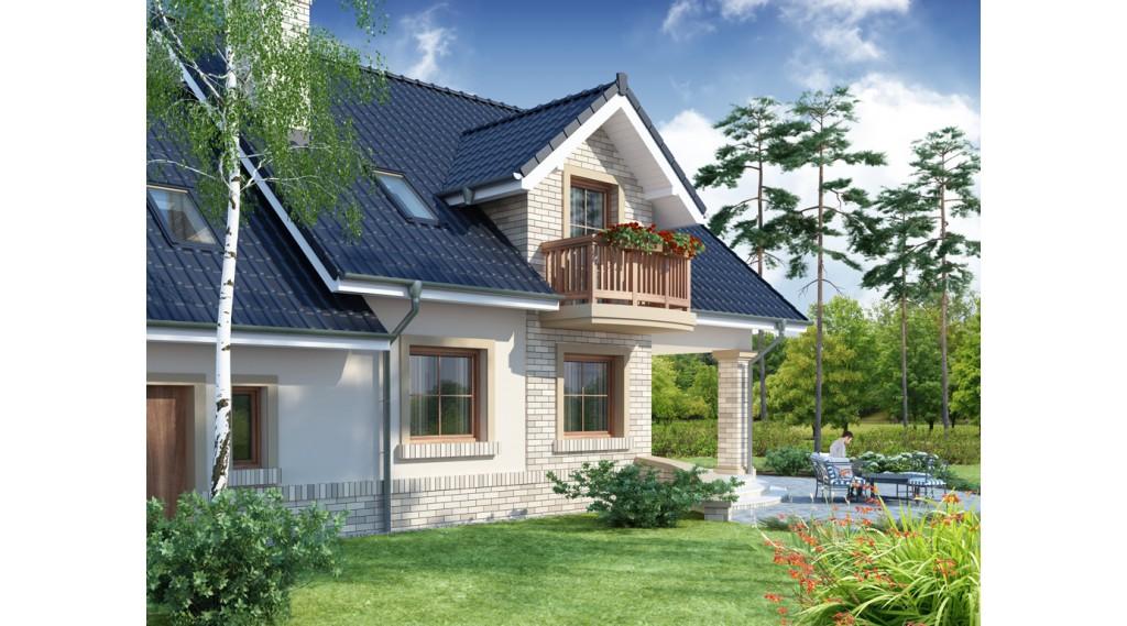 Varianta casa mansarda cu acoperis inchis la culoare
