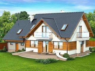 Casa cu fatada alba si panouri din lemn