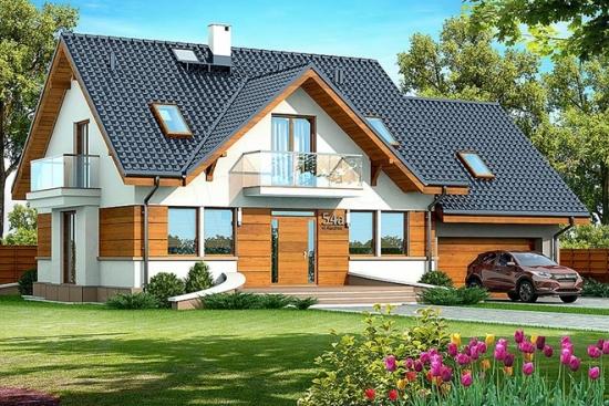 Proiect de casa moderna cu mansarda, 3 dormitoare si garaj