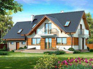 Model casa moderna cu mansarda si garaj