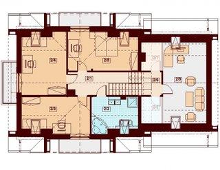 Plan casa cu living la etaj