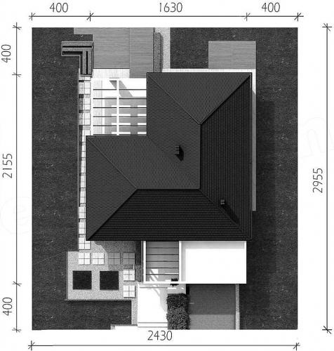 Casa moderna fara etaj in forma de L