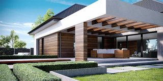 Pergola construita integrat cu casa