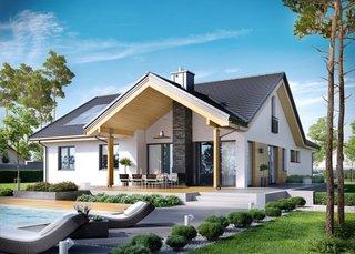 Casa cu terasa acoperita si semineu