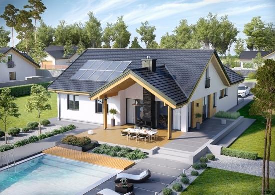 Casa in forma de T cu piscina ingropata si terasa acoperita