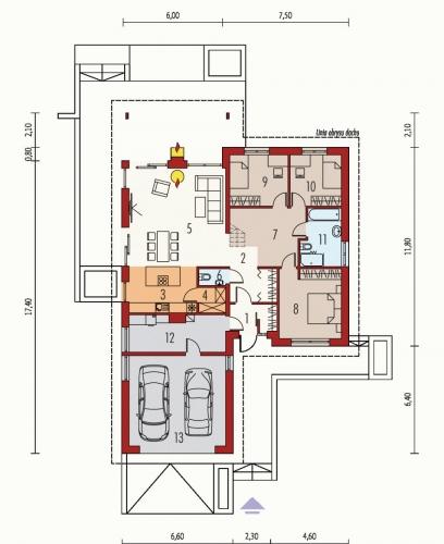 Schita plan parter casa bungalow