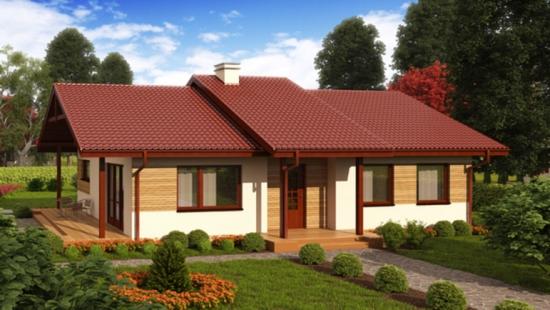 Proiect casa parter pe structura de lemn cu 2 dormitoare si birou