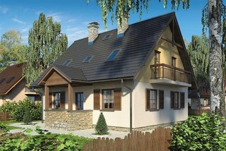 Casa cu mansarda cu intrare placata cu piatra