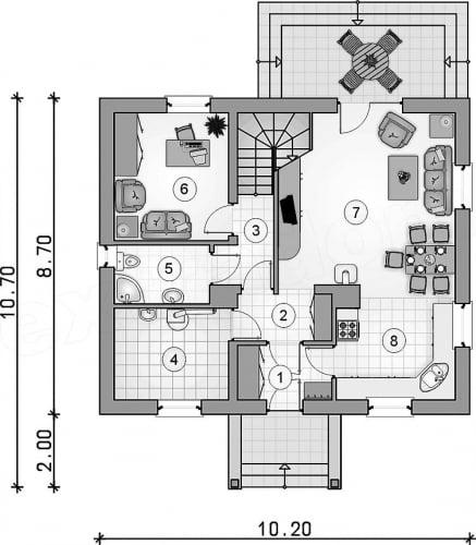 Parter casa cu living open space cu bucataria si diningul