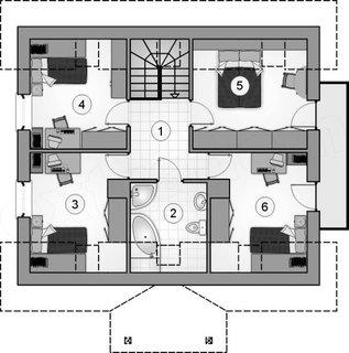 Plan etaj de 50 mp cu 4 dormitoare