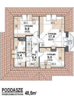Mansarda cu 3 dormitoare suprafata 48.5 mp