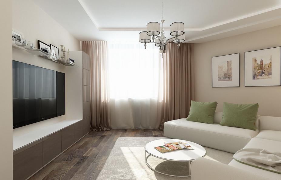 Living cu televizor pe perete canapea alba de colt