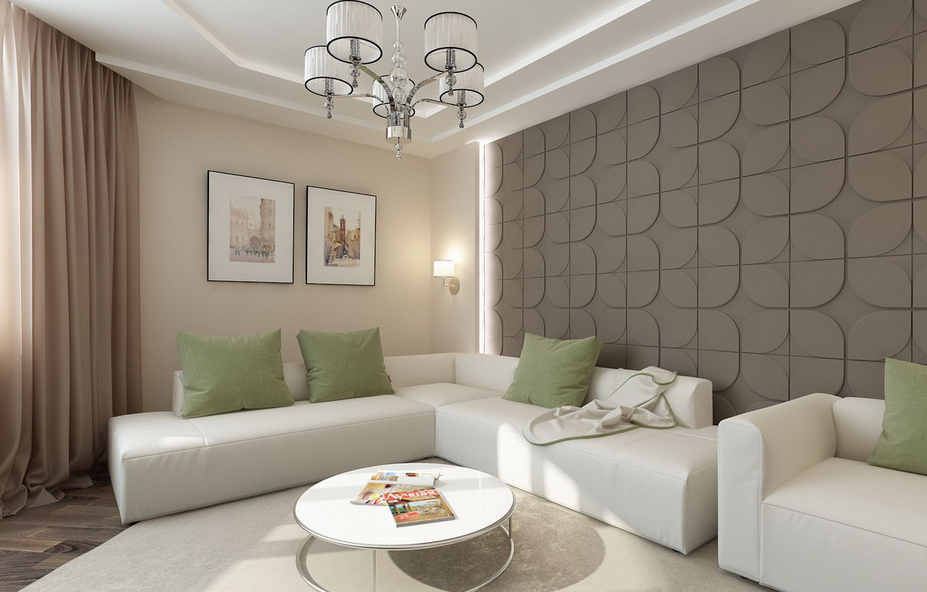 Living elegant cu perete tapetat model maro canapea alba