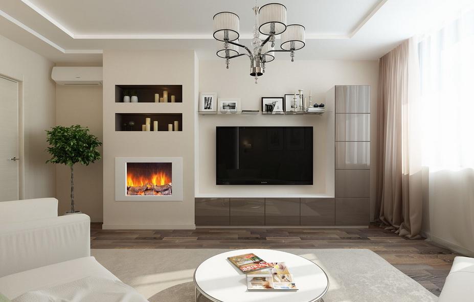 Living modern cu semineu si televizor incorporat in perete