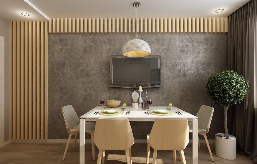 Masa cu scaune de lemn televizor pe perete