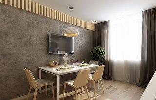 Zona de dining perete cu tapet maro inchis