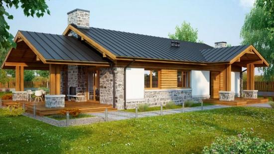 Proiect de casa rustica, de 111 mp locuibili - planuri si poze. Ce poate fi mai frumos pentru o familie?