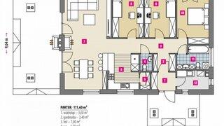 Plan casa cu parter 111 mp utili